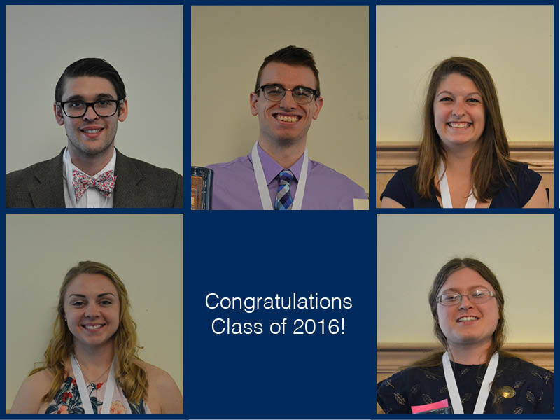 The 2016 Outstanding Graduates from Honors: Top (L to R): Nicholas Fried, Connor Smart, Jade McGuire. Bottom (L to R): Elizabeth Wood, Hilary Warner-Evans.