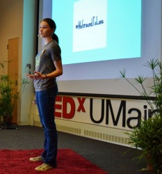 Audrey Cross presenting at TedX UMaine.