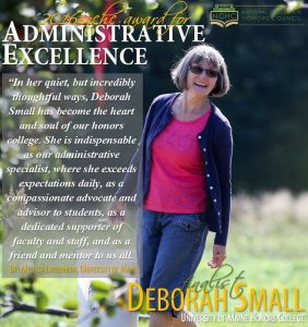 Deborah Small was a runner up for NCHC's Administrative Excellence award.