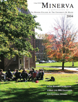 Minerva 2004 cover image, showing students having class outside on the lawn next to Colvin Hall