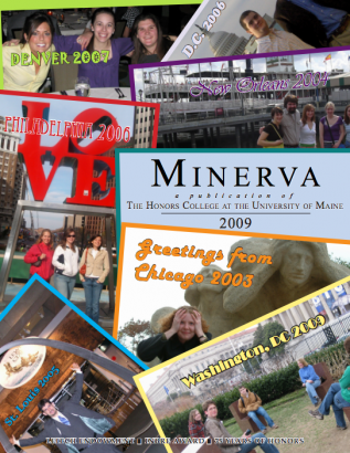 Minerva 2009 cover image, showing postcards from a variety of cities Honors has traveled to in recent years including Chicago, Philadelphia, D.C., New Orleans, St. Louis, and Denver.