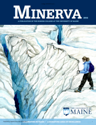 Cover Image of Minerva 2015, showing a painting of the arctic by Honors grad Jill Pelto