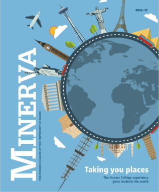 Minerva 2016 cover, showing an illustration of a globe with world monuments all around it
