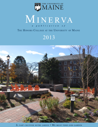 Minerva 2013 cover image, showing Charlie's Terrace outdoor classroom across from Estabrooke Hall