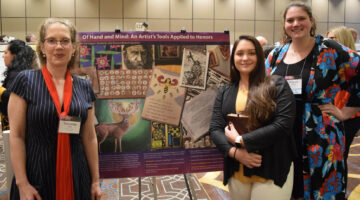Honors Faculty Member Samantha Jones and Students Reagan Harrington and Bri Ballard win 1st place at NCHC