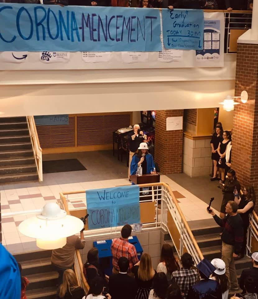 "Sophie Palangas addresses the crowd at the 2020 student-lead ""Coronamencement"""