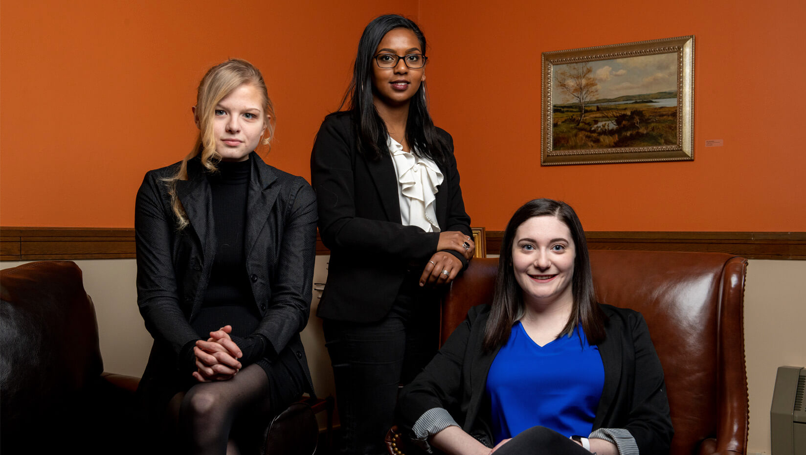 Clement and Linda McGillicuddy Humanities Center undergraduate fellows in spring–fall 2020 are, from left, Ivy Flessen, Leela Stockley and Bria Lamonica.
