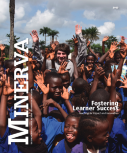 Minerva 2019 Cover, showing Honors student Sierra Kaplan surrounded by children in Sierra Leone on a 2019 trip.
