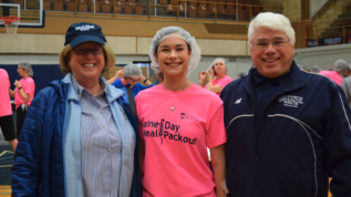 President Joan Ferrini-Mundy, Emma Hutchinson, and Dean Robert Dana