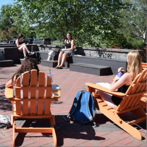 Students enjoy outdoor class at Charlie's Terrace.