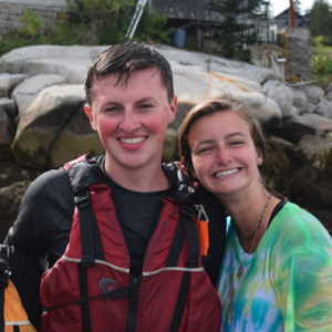Two students smile together while on a trip to Hurricane Island.
