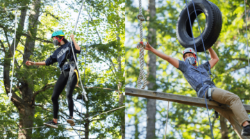 Honors students enjoying the ropes course at UMaine.