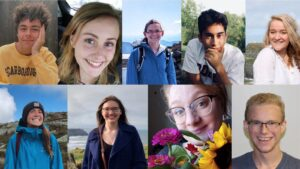 A collage of photos of the Honors Ambassadors. Top row from left: Jacob Chaplin, Gabby Sands, Megan Driscoll, Santiago Tijerina, Kate Follansbee. Bottom row from left: Katie Tims, Bailey West, Dominique DiSpirito, Michael Furtado.